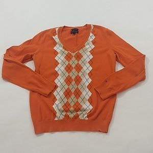 Tommy Hilfiger Argyle Sweater Size M Orange Cotton